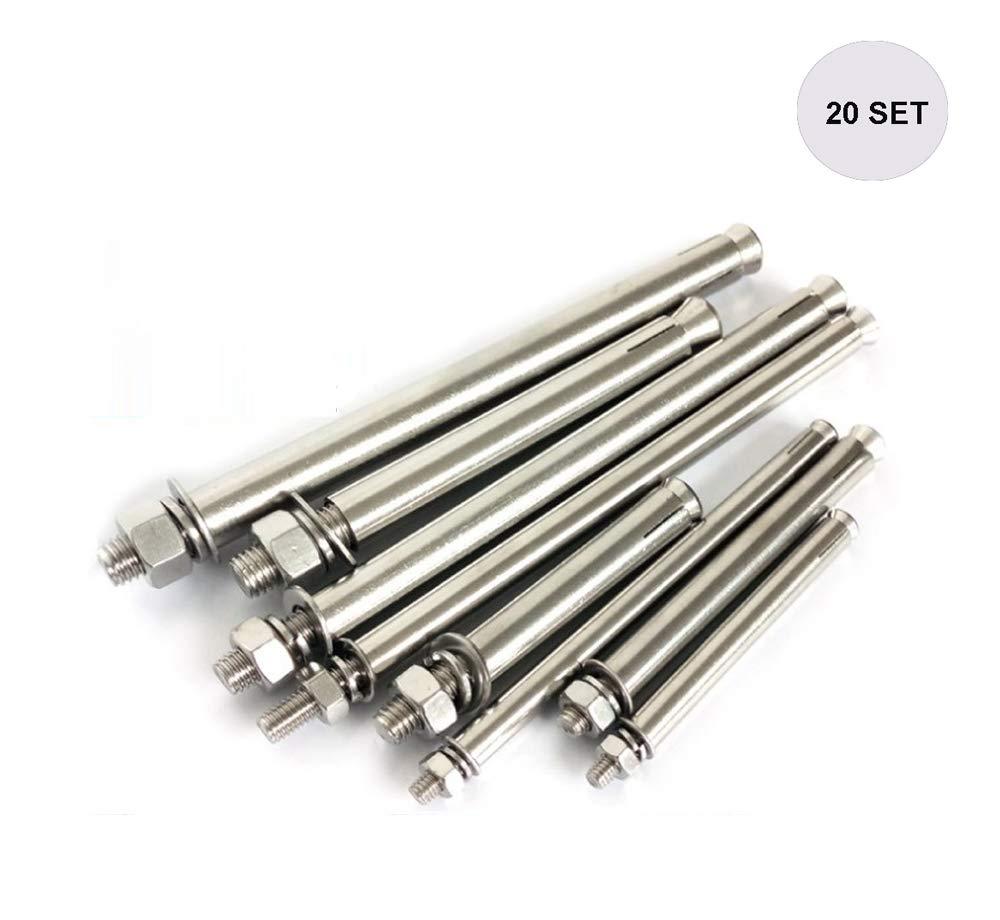 Becho - Juego de 20 piezas de anclajes de acero inoxidable 304 para tornillo de expansión de tuercas hexagonales (M6M8M10): Amazon.es: Bricolaje y herramientas