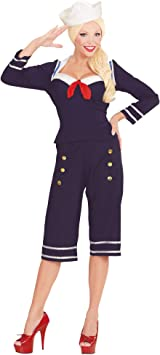 WIDMANN 00341 - Adult Costume 50s Pin Up Marinero, Camisa, Pantalones y Sombrero, Talla S