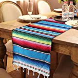 OurWarm Mexican Table Runner Handwoven Fringe Cotton Serape Blanket Table Runners, Colorful Mexican Stripe Table Runner for Mexican Party Decorations Fiesta Party Supplies, 14in x 84in