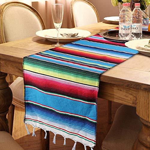 OurWarm Mexican Table Runner Handwoven Fringe Cotton Serape Blanket...