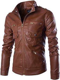 MISSMAO Mens Vintage Classic Zip Up Slim Fit Leather Jacket