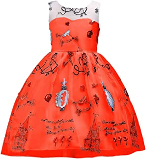 Zhhlinyuan ファッション Girls Sleeveless Casual ドレス Kids Embroidered Pattern Party Pageant Wedding Dresses