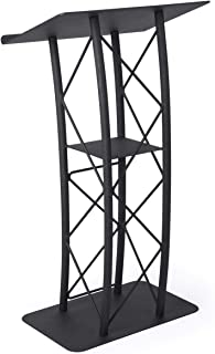 Displays2go Black Aluminum and Steel Truss Lectern with Curved Design and Built-In Shelf, 47-Inch Tall, Textured Finish (LCTTACBK)