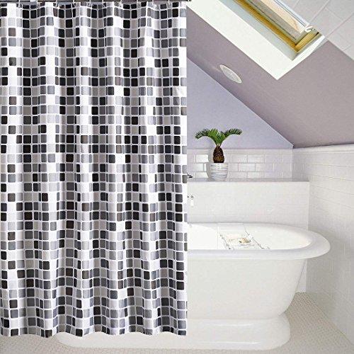 HuaForCity Duschvorhang aus Stoff B x H 200 x 220 cm wasserdichter waschbarer Textil Anti-Schimmel Digitaldruck inkl. 12 Duschvorhangringe für Badezimmer