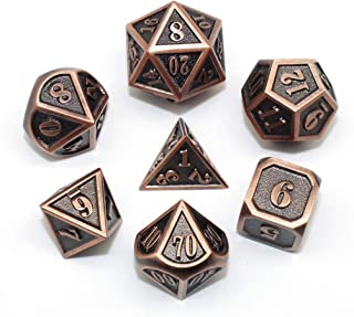 HD DND Metal Dice Set Ancient RPG Dice for Dungeons and Dragons(D&D) Pathfinder MTG Tabletop Role Playing Game Polyhedral Mini Red Copper Metal Dice Group