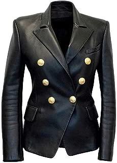Womens Kim Kardashian Black Double Breasted Slim Fit Real Leather Jacket Blazer Jackets
