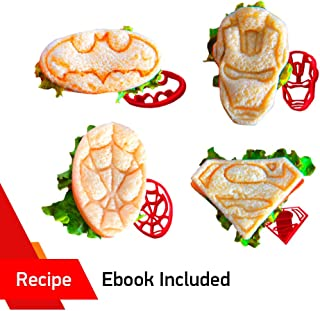Superhero Mini Sandwich Cutter Set by WNF Craft - Fun Shapes of Superman Batman Ironman and Spiderman - Press Molds Perfect for Lunch box and Breakfast Fun Bites -Great for Adults and Kids of All Ages