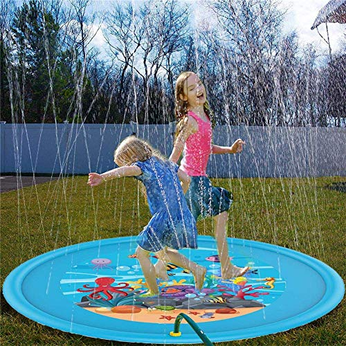 Alfombra Infantil de Chorro de Agua, 170 cm, Alfombra de pulverización de Agua, Agua, Piscina, Piscina para niños de Aire Libre, PVC Duradero, Hinchable, Juegos y Juguetes de pleno Aire de Verano