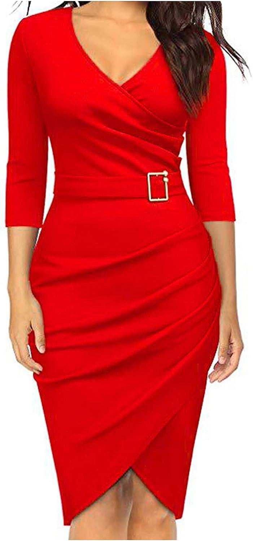 Sexyp-tops Casual Dresses for Women,Ladies Elegant Pencil Dress Retro Deep-V Neck Ruffles Long Sleeve Party Work Dresses