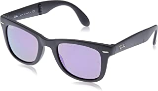 Ray-Ban RB4105 Wayfarer Folding Sunglasses, Matte Black/Violet Mirror, 50 mm
