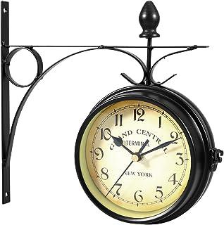 comprar comparacion WINOMO Reloj de pared creativo clásico relojes de estilo europeo doble cara monocromo (negro)