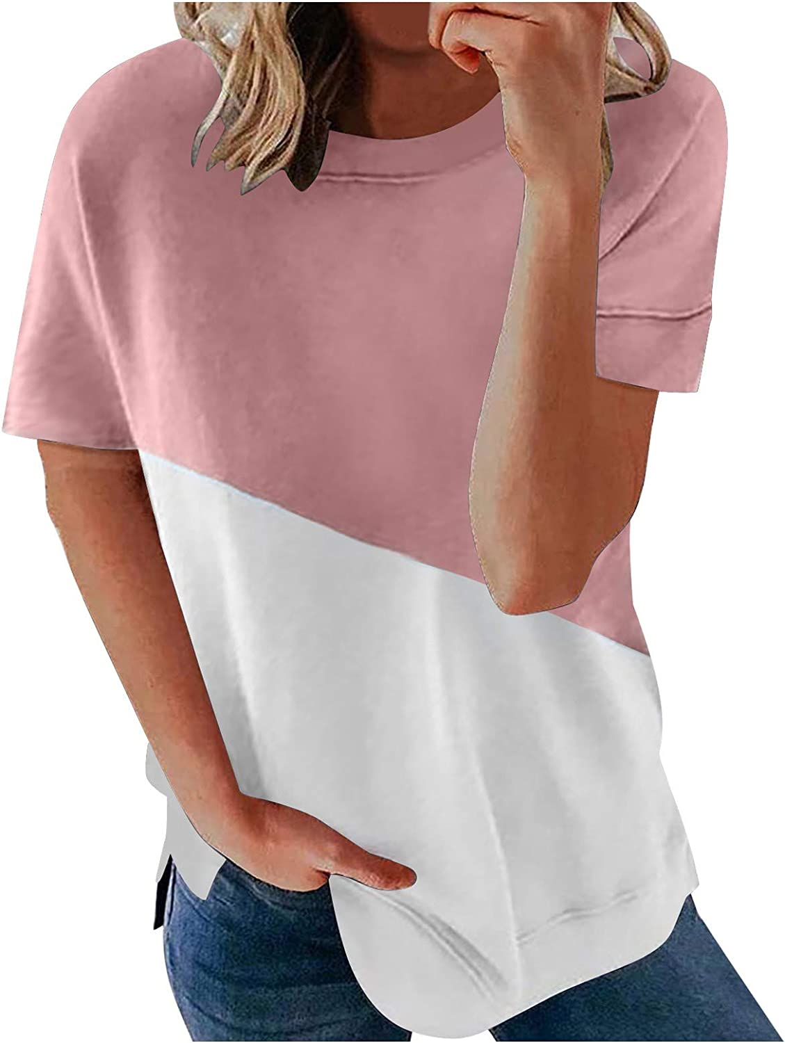 AODONG T Shirts for Women Trendy Short Sleeve Tops Summer Color Block Blouses Crewneck Comfy Pullover Shirts Tunics