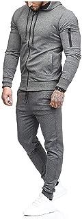 Mogogo Mens Hoodie Sweatshirts Zip-Up Oversized Jogging Track Suit