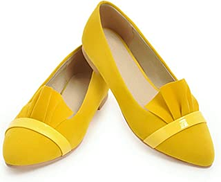 Women Flats Style Flock Ruffles Slip-On Pointed Toe Large Size Spring Yellow and Black Shallow Women Shoes