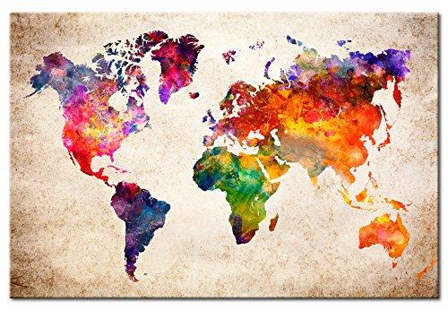 murando Cuadro en Lienzo Mapamundi 120x80 cm 1 Parte Impresión en Material Tejido no Tejido Impresión Artística Imagen Gráfica Decoracion de Pared Mapa del Mundo Geografia k-B-0027-b-a
