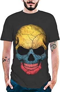 Mitlfuny Camiseta de Manga Corta para Hombre Verano Adolescente Cuello Redondo Negro Tops 3D Calavera Estampado Deportes P...