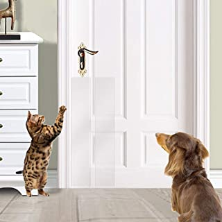 KEBE Door Scratch Guard,  Self-Adhesive Clear Flexible Vinyl Toughest Cats Dog Scratch Protector Door Wall & Furniture Shield for Dog Cat Scratching Deterrent,  Defender & Repellent