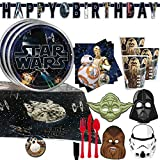 Classic Star Wars Birthday Party Supplies For 16 With Star Wars Plates, Napkins, Cups, Birthday Banner, Cutlery, Masks, Tablecover and Star Wars Inspired Pin By Another Dream