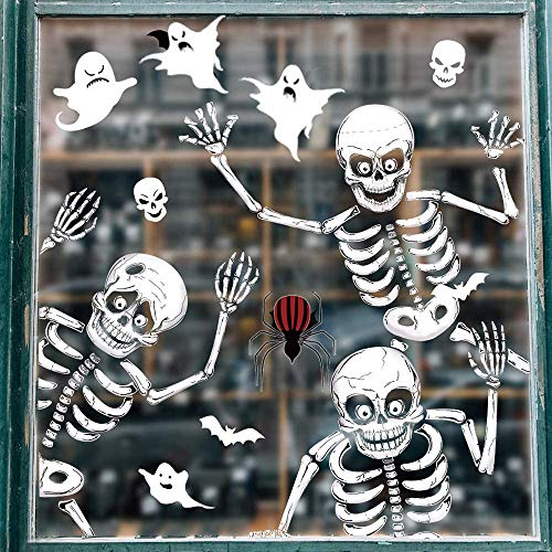 Vicor 6 sheets Halloween Party decoration,68pcs Halloween Window stickers,Skeleton and Ghost Window decals for Halloween