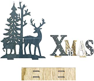 iZHH Christmas Wooden Table Top Ornament Reindeer and Xmas Tree Mini Table Decorations Supplies Festival Home Decor