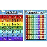 Lettere Alfabeto Grafico e Numeri 1-100 Chart, 2 Pezzi Educativo Poster di Prescolastico Poster di Apprendimento per Bambini