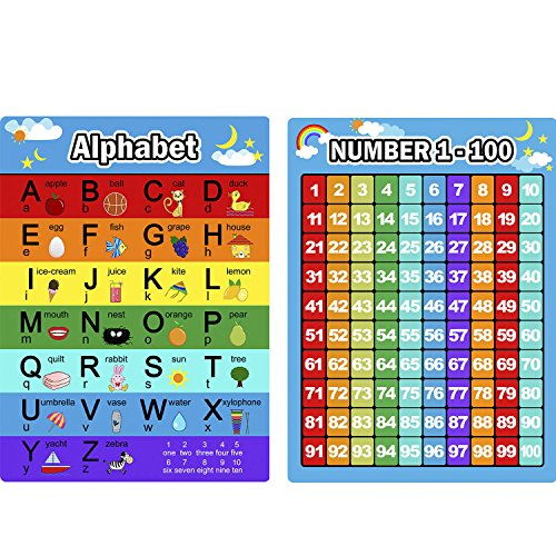 Bememo Alphabet Letters Chart and Numbers 1-100 Chart, 2 Pieces Educational Posters Preschool Learning Posters for Toddlers and Kids
