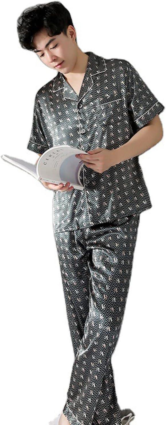 ML S HJDY Summer Men Pajamas Set Short Sleeve Male Sleepwear Soft Casual Fashion Men's Silk Nightwear Long Pants Loungewear,Blue,L