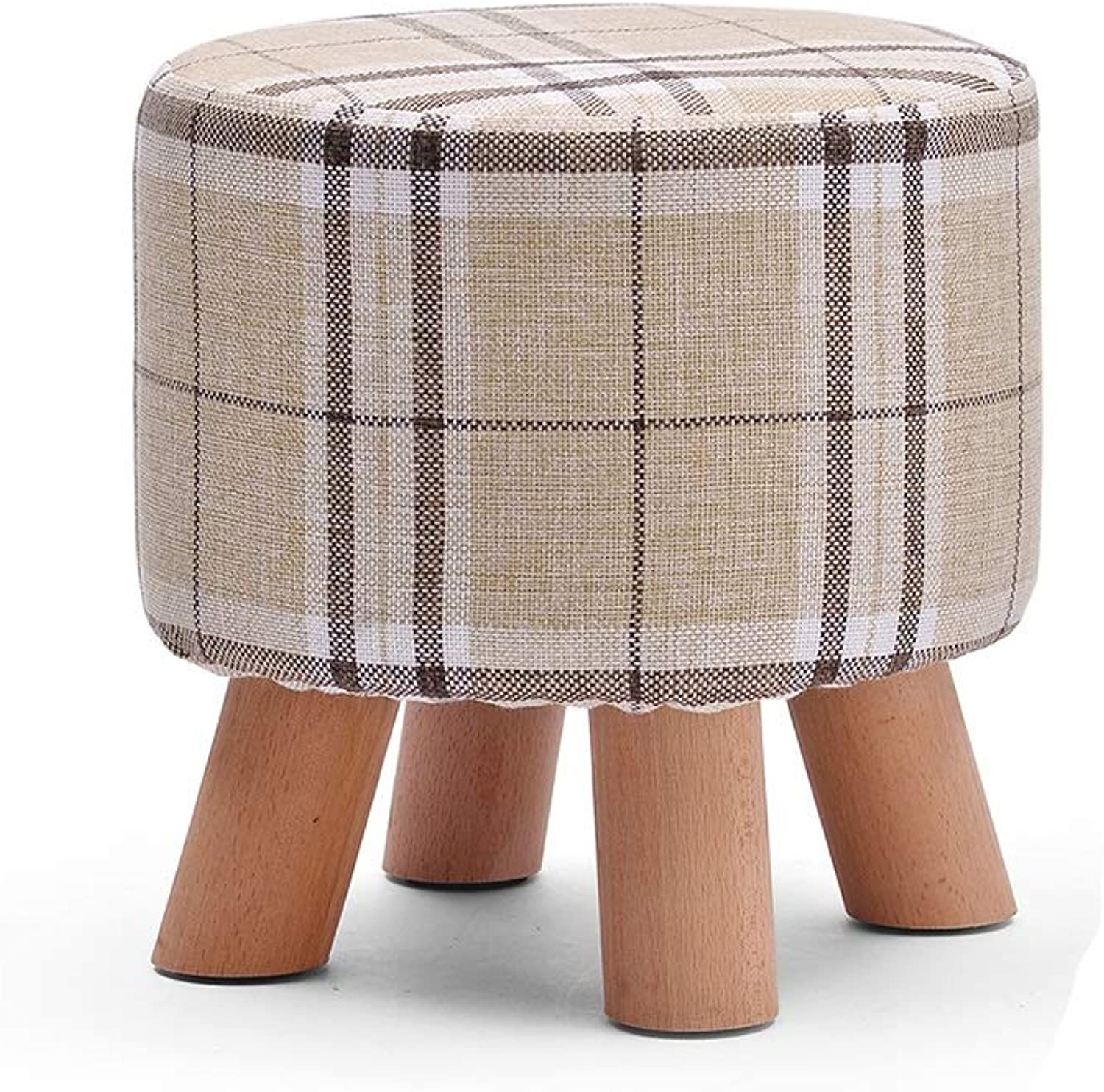 Footstool, Round Padded Wooden Leg Fabric Cotton Sofa Living Room Bedroom Home shoes Bench HPLL (color   6, Size   29  28cm)