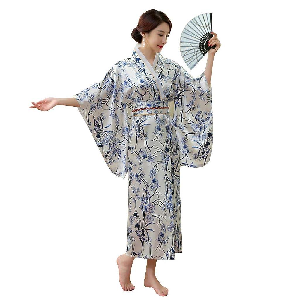 Women's Traditional Japanese Kimono Costume Elegant Girl Sakura Branch Print Yukata Kimono with OBI Belt