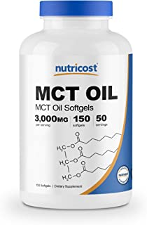 Nutricost MCT Oil Softgels 1000mg, 150 SFG (3,000mg Serv) - Great for Keto, Ketosis, and Ketogenic Diets