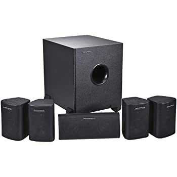 Mono 5.1 Channel Home Theater Satellite Speakers and Subwoofer - Black