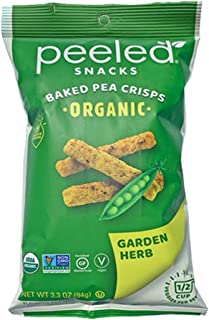 Peeled Snacks Organic Baked Pea Crisps, Garden Herb, 3.3 Ounce