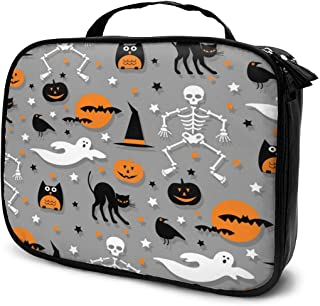 Cosmetic Bag Halloween Pattern Orange Gray Skull Travel Makeup Bag Anti-wrinkle Cosmetic Case Multi-functional Storage Bag Large Capacity Makeup Brush Bags Travel Kit Organizer Women's Travel Bags