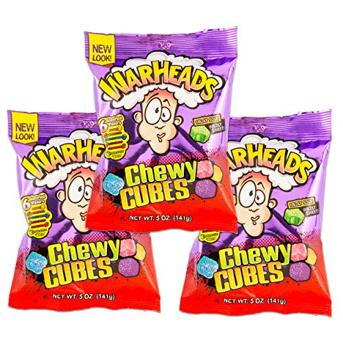 Warheads Chewy Cubes, 5 oz, (Pack of 3)