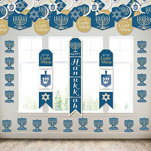Big Dot of Happiness Happy Hanukkah - Wall and Door Hanging Decor - Chanukah Holiday Party Room Decoration Kit