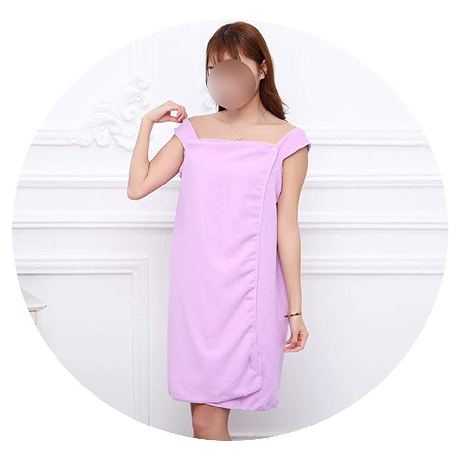New face 1x Microfiber Women Lady Girl Large Beach Bathing SPA Hot Spring Wearable Bath Towel Body Wrap Household Travel,snap Buttons Purple,140x80cm