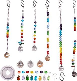 SUNNYCLUE DIY Make 6pack Rainbow Crystal Suncatcher Making Kit Chandelier Crystal Prisms Balls Pendant Hanging Ornament Je...