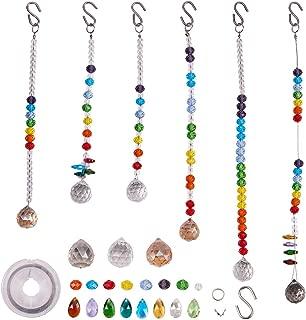 SUNNYCLUE DIY Make 6pack Rainbow Crystal Suncatcher Making Kit Chandelier Crystal Prisms Balls Pendant Hanging Ornament Jewelry Craft Kit for Home Office Garden Wedding Decoration Gift Instruction