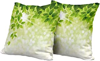 All of better Wheelchair Cushion Cover Leaf,Summer Spring Branch Leaves Foliage on Abstract Backdrop,Forest Green Light Green and Apple Green Cushion Cover 20x20 INCH 2pcs