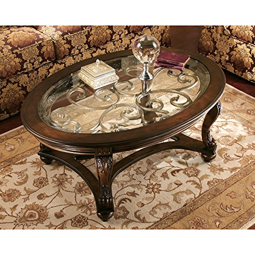 Signature Design by Ashley - Norcastle Traditional Glass Top Oval Coffee Table, Dark Brown