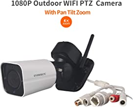 Eversecu 4X Optical Zoom Wireless PTZ Security Camera Pan Tilt Zoom Auto Cruise Outdoor WiFi HD IP Camera Supports Remote View Night Vision Motion Detection IP66 Weatherproof for Home Surveillance