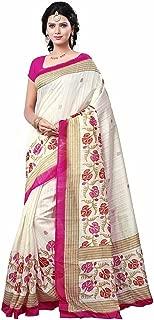 Jaanvi fashion Women's White Bhagalpuri Silk Printed SareeWith Unstitched Blouse