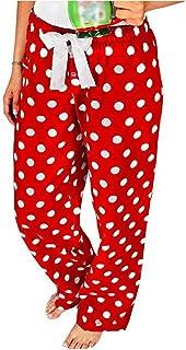 Christmas Pajamas Pants for Women Red Green Polka Dot/Plaids PJs Sleepwear