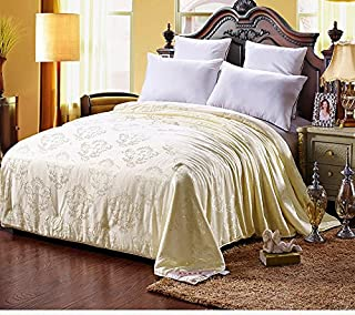 Shi Shang Pure Mulberry Silk Filled Comforter Silk Comforter Silk Duvet Silk Quilt(87x95inches) Doona Bedspread Blanket Coverlet for Spring Fall Season use(Queen, Yellow)