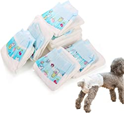 Warbriie Disposable Female Dog Diapers, Super Absorbent Leak-Proof Pet Care Wraps, Comfortable & Soft Heating Pee Pet Diapers for Female Puppy Dogs - 10 Count