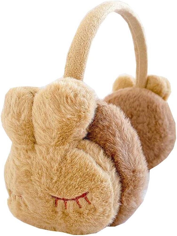 Lovely Kids Warm Winter Earmuffs Winter Ear Warmers Covers Soft Earmuffs for Cold Weather Cute Rabbit, Khaki