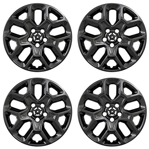 MARROW New Wheel Skins Covers Fits 2015-2018 Jeep Renegade, 17 Inch; 10 Vent; Black; ABS Plastic; Set of 4; Not Compatible with Steel Wheels