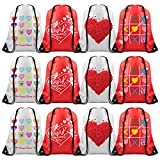 KUUQA 12 Pcs 4 Designs Heart Love Shaped Drawstring Bags Drawstring Backpack Bags for Valentine's Day Party Favors Wedding Party Supplies Favors for Kids