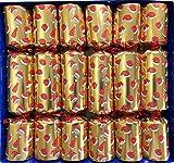 Crackers Ltd - Juego de 6 figuras de cristal grandes para Navidad (diseño de sombreros de Navidad, diseño de galletas doradas)