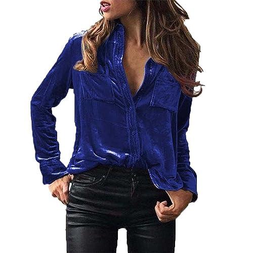 8e7cb3b1226652 Overdose Women Blouse Velvet Turn-Dowm Collar Long Sleeve T-Shirt Tops